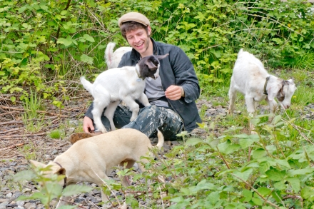 Johnny walking his goats in Washougal, Washington. 28 May 2012.